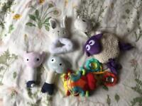 Baby soft toys and rattles bundle