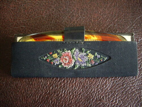 Vintage W Germany Needlepoint Comb and Mirror Case Snap Petit point Black Case