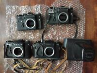 SLR Film Cameras & Lenses - Joblot - Pentax Zenit Praktica M42 Olympus