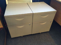 2 metal cabinets on castors with key, great condition