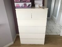 White pair of 6 draw chest of drawers