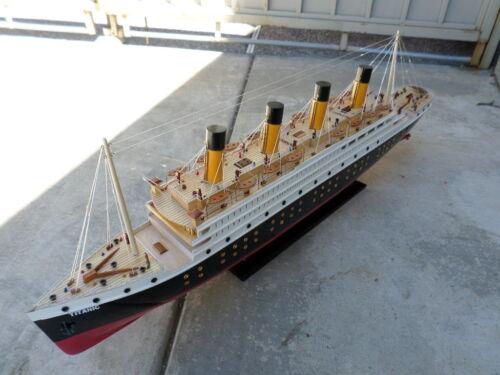 "Titanic wooden model cruise ship w/ flashing light 40"""