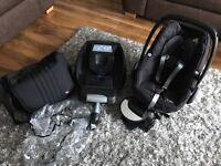 Maxi-cosi Pebble Car Seat bundle with Easi Base, Mirror, Rain Cover and Baba Bing Changing Bag