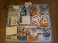 Nintendo Wii with family trainer and mat, 2 controllers, draw pad, Wii sports and Mario kart game