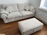 SCS Light grey 3 + 2 seater sofa & footstool