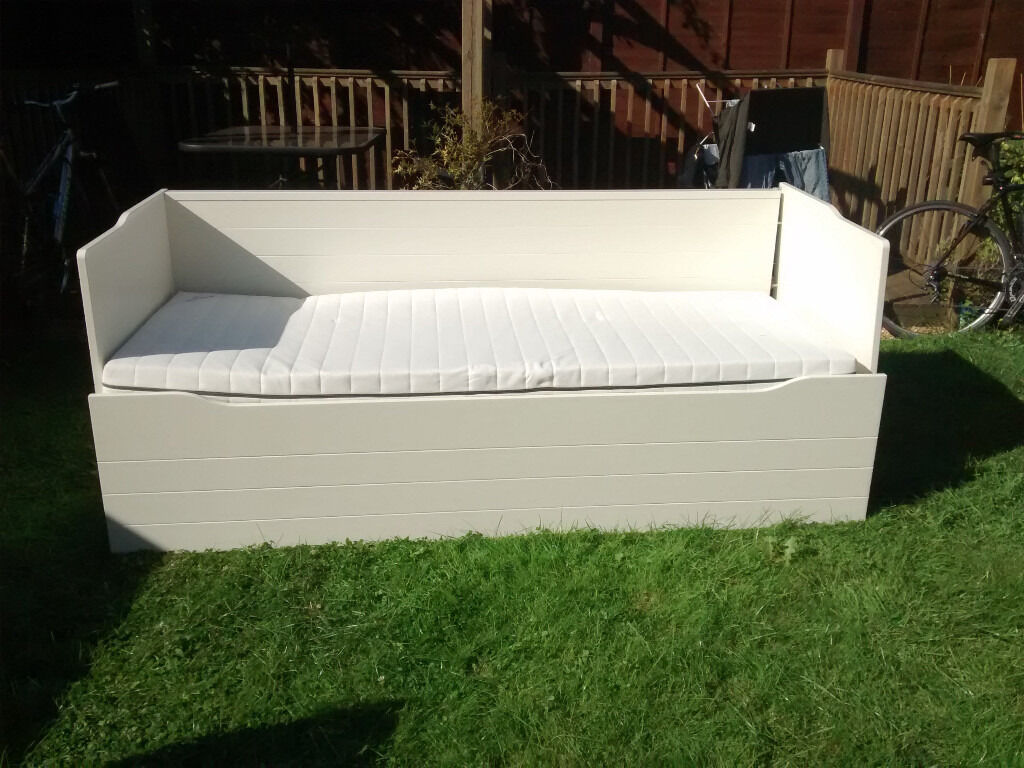 White IKEA Double Day Bed with Storage Drawer and One Mattress