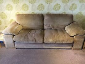 Light brown/fawn large sofa & armchair