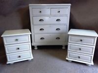 Pair Of Painted Pine Bedside Tables and Edwardian Painted Pine Chest of Drawers