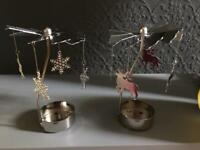 Two snowflake and deer tealight spinners