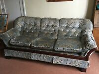 Three piece suite - large 3 seater sofa and 2 matching armchairs