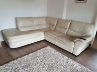 Leather corner sofa & 2 chairs