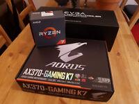 Ryzen 1700x CPU, Gigabyte AX370 K7 motherboard, EVGA CLC 280 cooler for sale