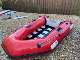 Inflatable Rubber PVC Boat - 3 Seater with Paddles - Good Condition - Red Plastimo