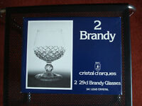 2 new lead crystal brandy glasses boxed. By Cristal D'arques.