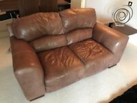 ***2 x Real Italian Brown Leather Sofas (3 seater and 2 seater). BOTH IN EXCELLENT CONDITION***