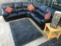 💥Luxury Barker & Stonehouse®️ Black Italian Leather Corner Sofa For Sale £280💥