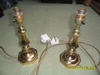 BRASS 100W TABLE LAMP PAIR