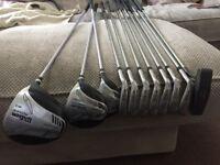 Full set of Wilson Reflex golf clubs , bag and cart.
