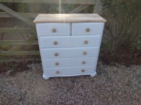 SOLID PINE CHEST OF DRAWERS --6 DRAWER---PAINTED FARROW + BALL WHITE PAINT --TOP SANDED + WAXED --