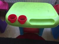 Green table and chair