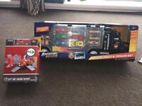 Deluxe truck and trailer set and city fire station play set