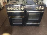 Black leisure 110cm electric cooker grill & double fan ovens with guarantee bargain