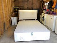 Double divan bed base with headboard