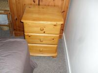solid pine three draw chest of drawers
