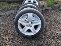 peugeot 17 inch 4 stud alloys 205/50/17 tyres NO OFFERS