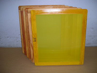 Screen Printing Frames--box Of 6--18 X 20 Wood With 230 Yellow Mesh