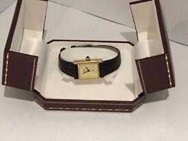 Ladies Cartier Tank Watch (Must de Cartier) Gold Plated genuine
