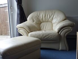 Offers Invited - Cream Leather Three Piece Suite