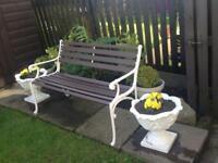 Art Deco style restored cast iron garden bench