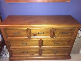 Reclaimed solid wood chest of 7 drawers