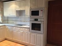 LARGE WHITE FITTED KITCHEN FOR SALE INCLUDING OVEN AND HOBS.