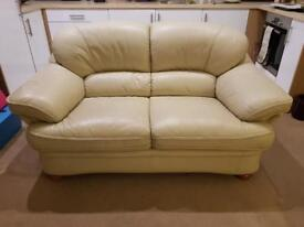 Cream Leather 2- Seater Sofa