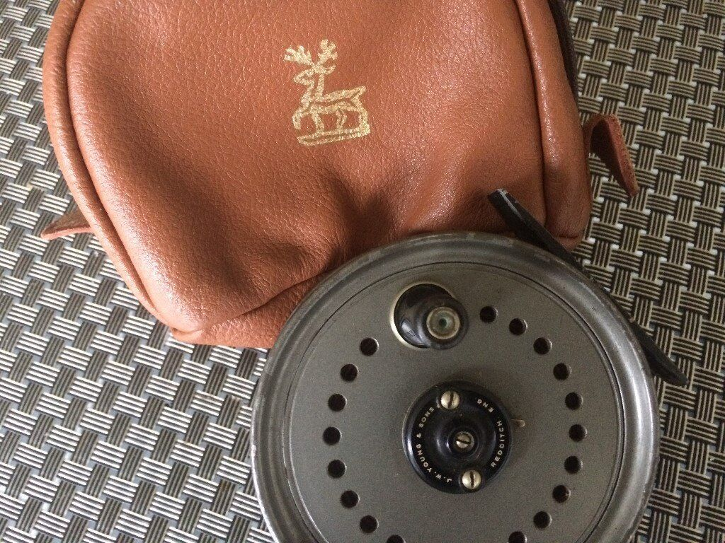 j w young fly fishing reel with original case in very good condition