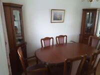 Dining Room Table Six Chairs and two display cabinets byJohn Coyle