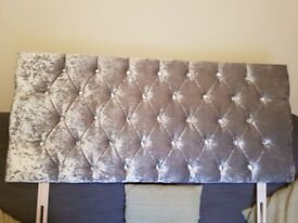 Double bed base and crushed velvet headboard