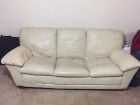 White Leather Sofa for £50, Double Bed for £50, 2 chest of drawers for £50, cupboard for £50