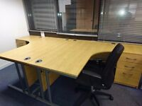 CORNER DESKS - GOOD CONDITION - 1600 X 1200 X 800 X 600MM - PEDESTALS AVAILABE ALSO