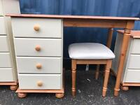 New cream/pine dressing table with stool and mirror