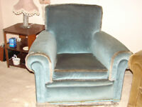 PALE BLUE DRAYLON ARMCHAIR