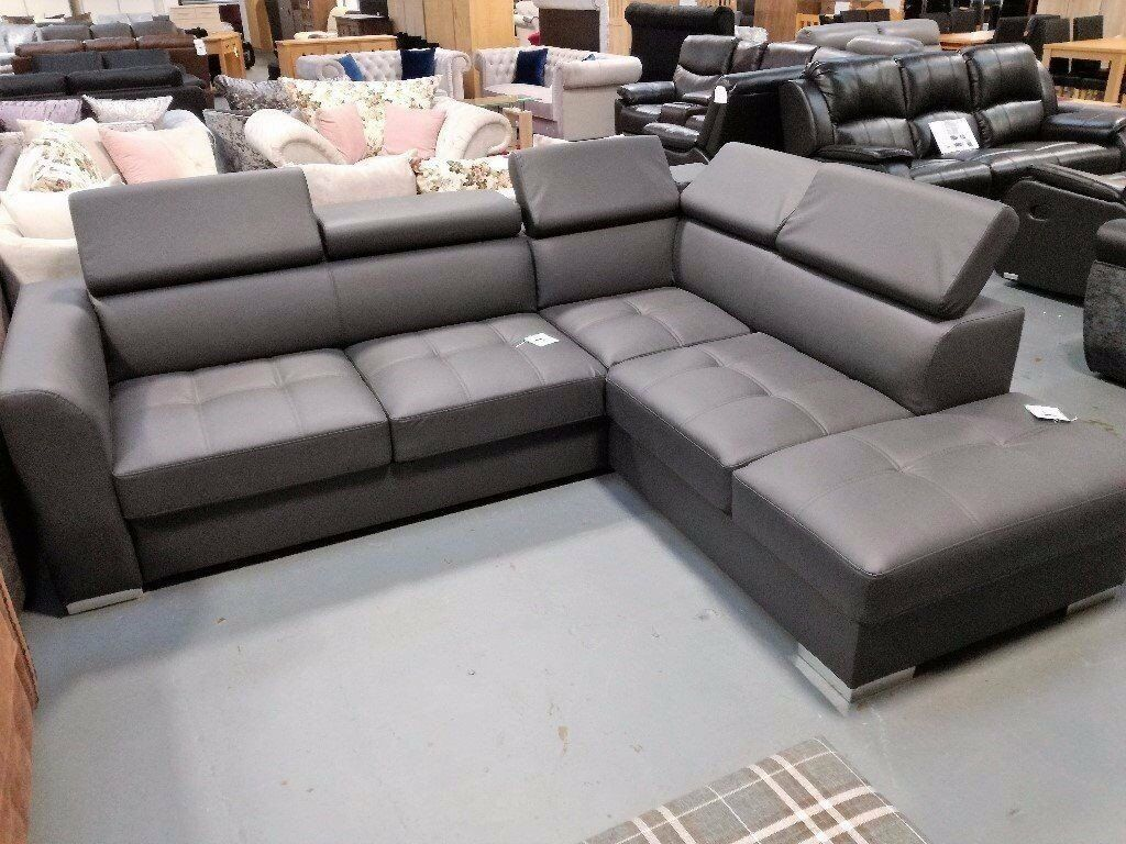 Ex Display Grey Leather Corner Sofa Bed With Storage