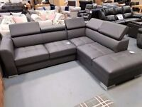 Ex Display Grey Leather Corner Sofa Bed With Storage. Right Hand. L260cm By 220cm, D95cm.