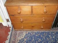 Old low pine chest of drawers