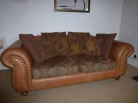 LEATHER SOFA COUCH SETTEE and FOOT STORAGE STOOL by THOMAS LLOYD