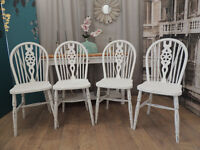 Set of Four Vintage Mid Century Dining Chairs in White Shabby Chic
