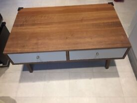 Modern design habitat style chestnut Table with 4 drawers both side