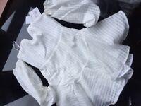 Burnout Plunge Oversized Sleeve Mini Dress (White)